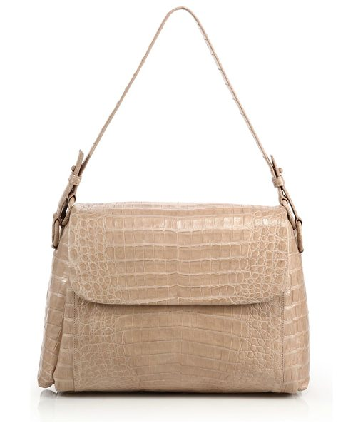 NANCY GONZALEZ Crocodile flap shoulder bag in nude - Elegant flap silhouette in exotic crocodileShoulder...