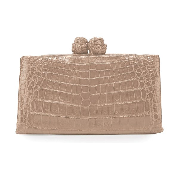 NANCY GONZALEZ Crocodile Knot-Top Clutch Bag - Nancy Gonzalez clutch bag in signature Caiman crocodile....