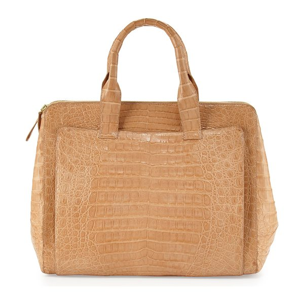 Nancy Gonzalez Crocodile large zip tote bag in beige - Nancy Gonzalez crocodile tote with golden hardware....