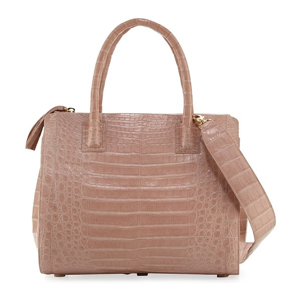 Nancy Gonzalez Crocodile Medium Double-Zip Tote Bag in nude matte - Nancy Gonzalez tote bag in signature Caiman crocodile....