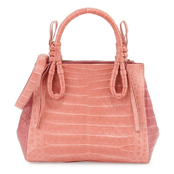 NANCY GONZALEZ Crocodile Medium Knotted Top-Handle Bag in rose pink - Nancy Gonzalez colorblock satchel bag in signature...