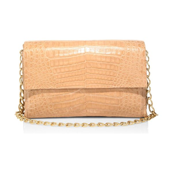 Nancy Gonzalez double chain crocodile leather shoulder bag in beige - Luxe crocodile leather bag in an eye-catching hue....