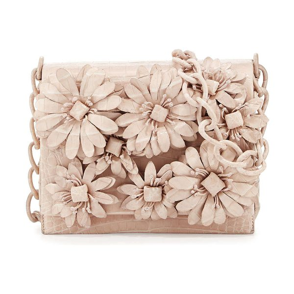 Nancy Gonzalez Flower-applique crocodile crossbody bag in pearl matte