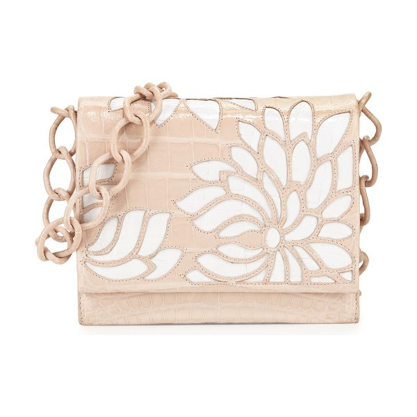 Nancy Gonzalez Gio Laser-Cut Flower Crocodile Crossbody Bag in blush - Nancy Gonzalez signature Caiman crocodile crossbody with...
