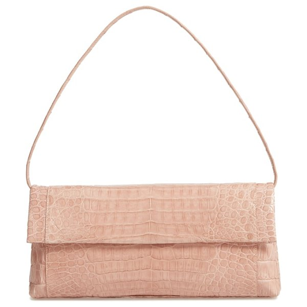 Nancy Gonzalez gotham genuine crocodile clutch in beige - With its clean-lined design and timeless silhouette,...