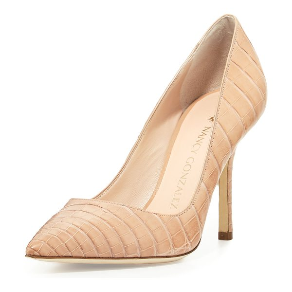 Nancy Gonzalez Holly Crocodile 90mm Pump in neutral pattern - Nancy Gonzalez crocodile pump. Available in multiple...