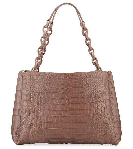 Nancy Gonzalez Large Chain Center Zip Shoulder Bag in brown