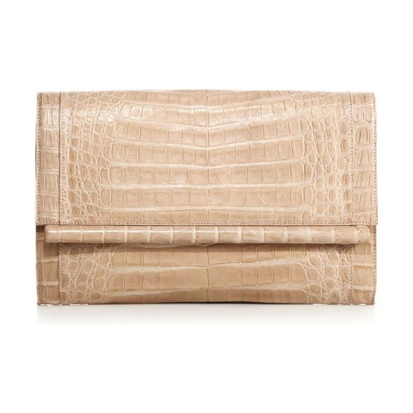 Nancy Gonzalez large crocodile bar clutch in nude - Sleek crocodile design with bar detail at flap. Magnetic...
