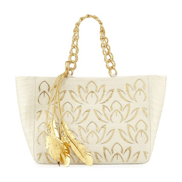Nancy Gonzalez Lotus Leaf Crocodile Tote Bag in cream/gold - ONLYATNM Only Here. Only Ours. Exclusively for You....