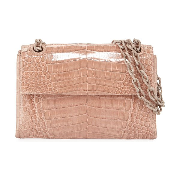 "Nancy Gonzalez Madison Crocodile Small Chain Shoulder Bag in beige - Nancy Gonzalez ""Madison"" shoulder bag in signature..."