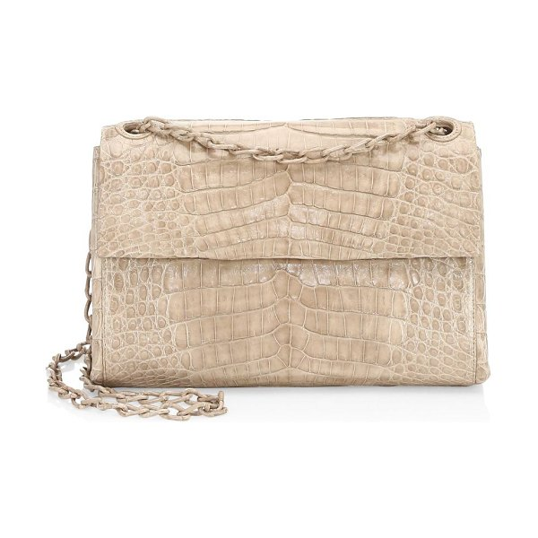 Nancy Gonzalez madison crocodile shoulder bag in taupe