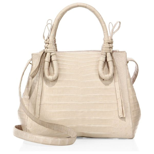 Nancy Gonzalez medium double tie-knot crocodile tote in blushmatte - Chic spacious crocodile tote with tie-knot handles....