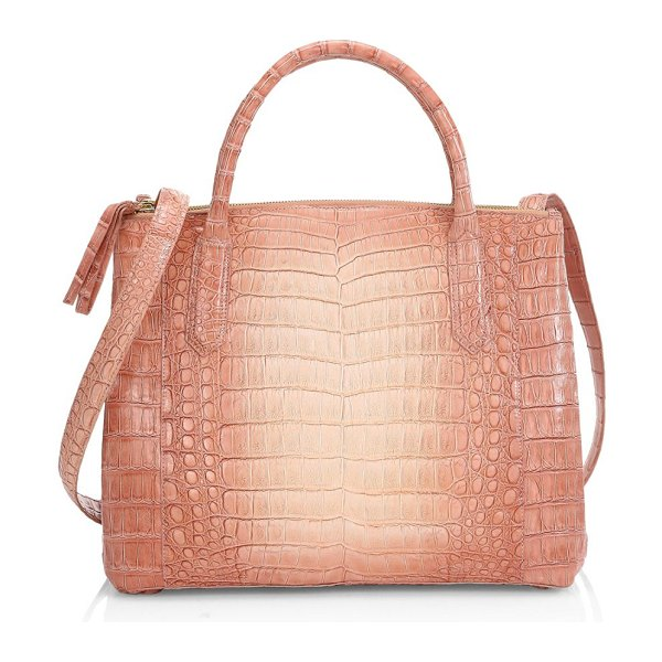 Nancy Gonzalez medium nix ombre crocodile top handle bag in nudedegrede - An ombre finish imbues this crocodile handle bag with an...