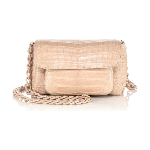 Nancy Gonzalez Mini crocodile chain crossbody bag in blush - A miniature silhouette of luxe crocodile is deceptively...