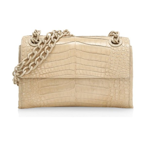 Nancy Gonzalez mini madison crocodile shoulder bag in taupe