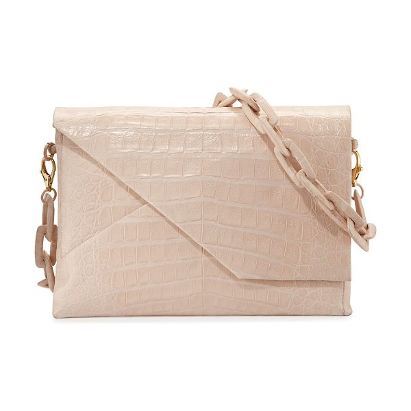 "Nancy Gonzalez New Origami Crocodile Chain Shoulder Bag in blush matte - Nancy Gonzalez ""Origami' shoulder bag in crocodile...."
