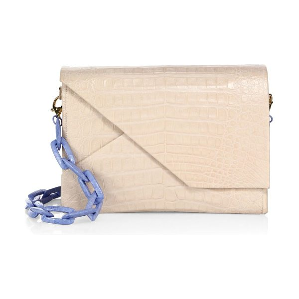 Nancy Gonzalez origami-flap crocodile chain shoulder bag in blush - Accordioned crocodile silhoutte with origami front flap....