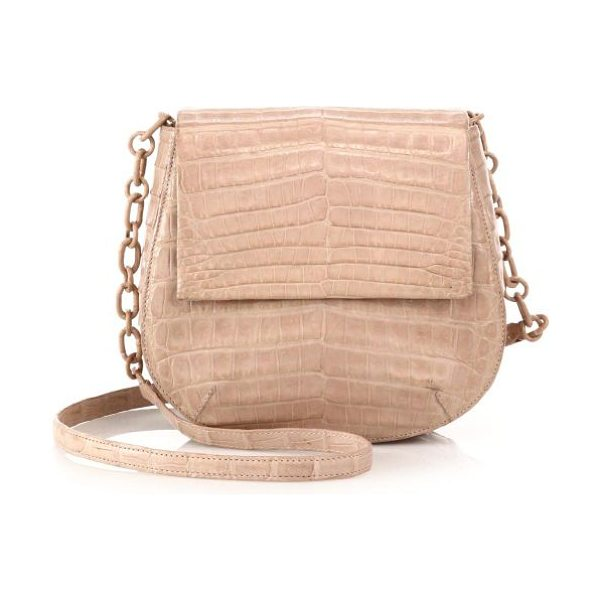 Nancy Gonzalez Round crocodile crossbody bag in nude - EXCLUSIVELY AT SAKS IN YELLOW. Crafted of luxe...
