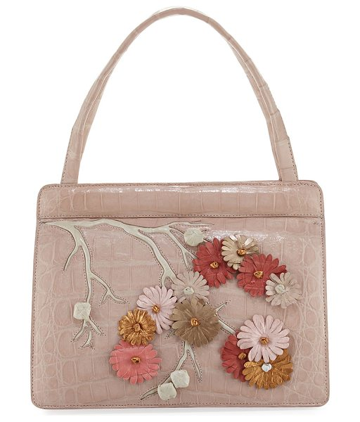 Nancy Gonzalez Small Cherry Blossom Top-Handle Bag in blush multi - Nancy Gonzalez signature Caiman crocodile tote bag with...