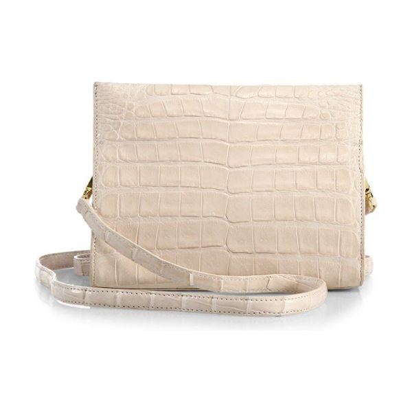 Nancy Gonzalez small crocodile clutch in blush - Boxy convertible clutch crafted from exotic crocodile....