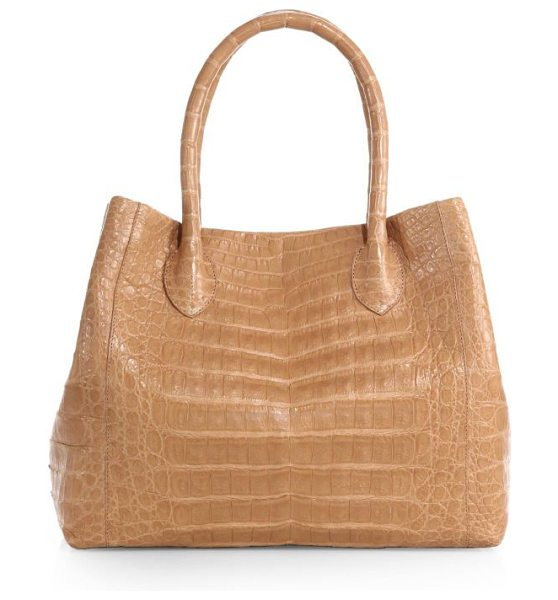 Nancy Gonzalez Small crocodile expandable tote in beige - Crafted from luxe crocodile, this expandable tote...