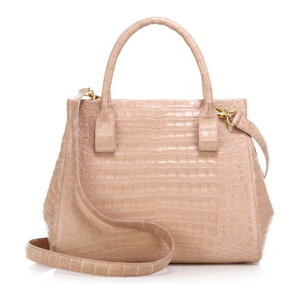 Nancy Gonzalez small crocodile satchel in nude - Crafted of luxe crocodile in a petite silhouette, this...