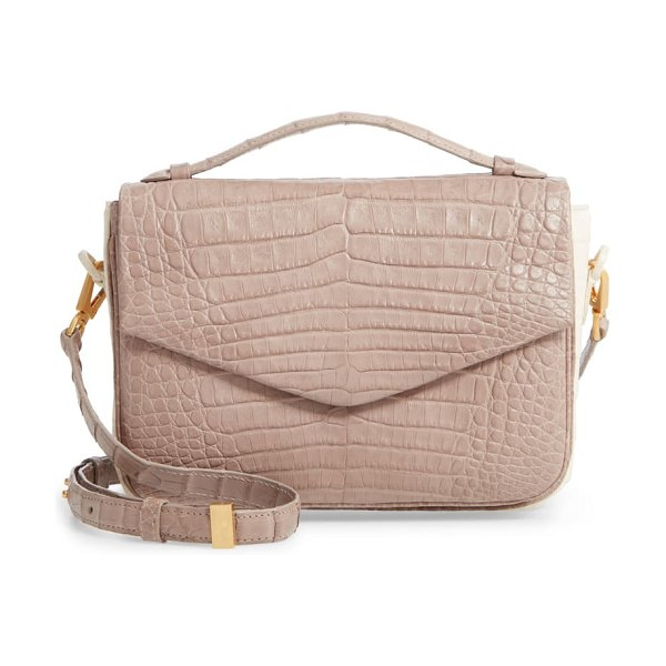 Nancy Gonzalez small genuine crocodile crossbody bag in beige