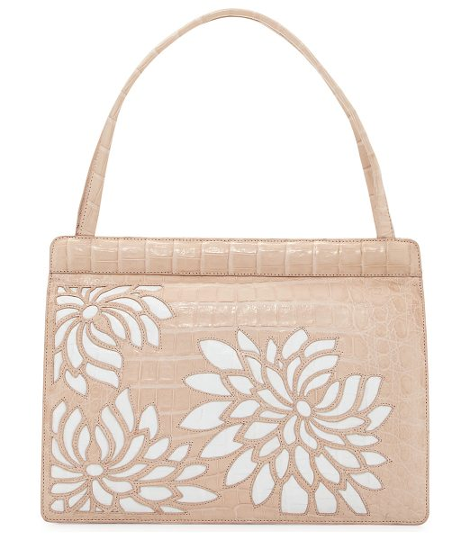 Nancy Gonzalez Top-Handle Crocodile Frame Bag in blush/white - Nancy Gonzalez frame bag in signature Caiman crocodile....