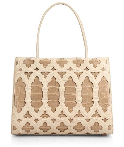 NANCY GONZALEZ Wallis medium bicolor laser-cut tote - A laser-cut overlay creates beautiful contrast against a...