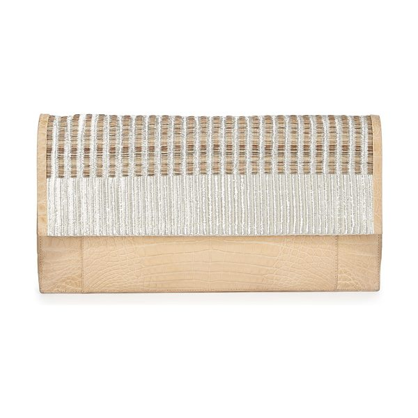 Nancy Gonzalez Woven Calf Hair & Crocodile Clutch Bag in cream multi - Nancy Gonzalez clutch in signature Caiman crocodile....