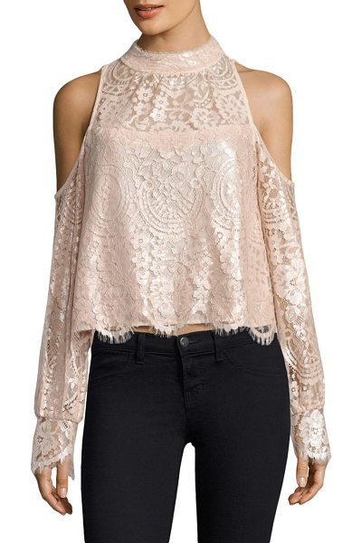 Nanette Lepore dazzling blouse in pink - Blouse embellished with floral and lace details....