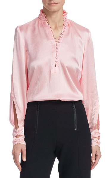 NANETTE LEPORE eternal beauty silk blouse in pale pink - Minimalist silk blouse updated with delicate keyhole...