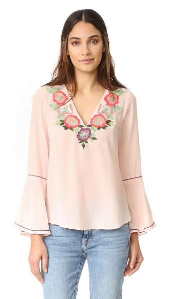 Nanette Lepore toscana top in blush - Embroidered flowers border the V neckline on this...