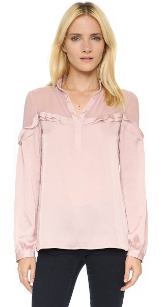 Nanette Lepore Whisper top in pale pink - Laser cut ruffles trim the sheer, silk georgette yoke on...