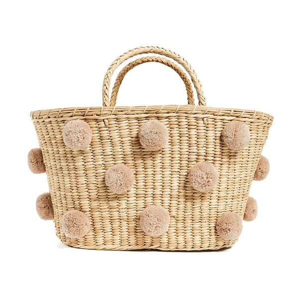 Nannacay joana tote in off white/beige - Fabric: Straw Allover pom-poms Unlined Weight: 18oz /...