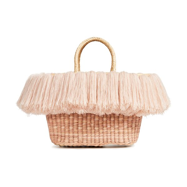 Nannacay vix baby tote bag in off white/beige - Fabric: Straw Fringed trim Tonal coloring Unlined Dust...