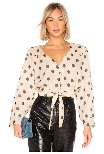NANUSHKA amulet top in creme & black dot - Nanushka Amulet Top in Tan. - size S (also in M)...