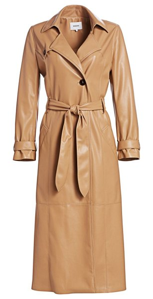 NANUSHKA chiara vegan leather trench coat in pale camel - Made of butter-soft vegan leather, this long coat with...
