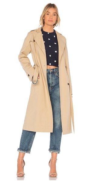 NANUSHKA Dakota Coat in tan - Poly blend. Dry clean only. Front button closure. Side...