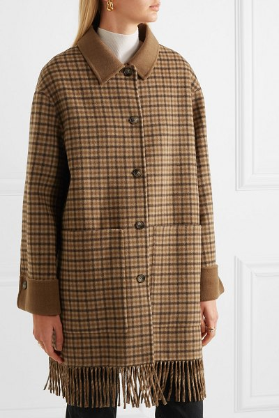 NANUSHKA marzy fringed checked wool and silk-blend coat in brown