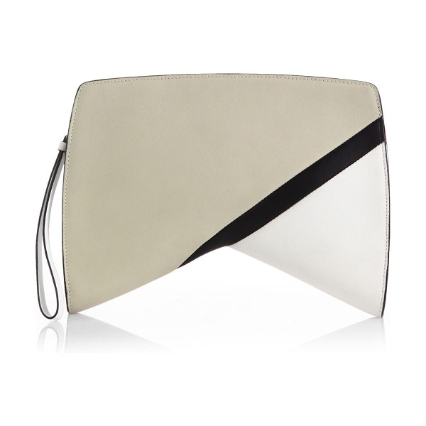 """Narciso Rodriguez Colorblock boomerang clutch in stone - A geometric """"boomerang"""" silhouette lends a funky edge to..."""