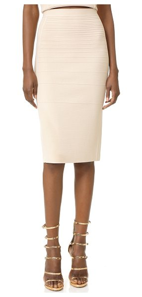 Narciso Rodriguez Knit Pencil Skirt in cream - Raised stitches create a tonal stripe effect on this...