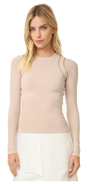 Narciso Rodriguez long sleeve knit top in nude/nude - A slim, luxe Narciso Rodriguez pullover with a slinky...