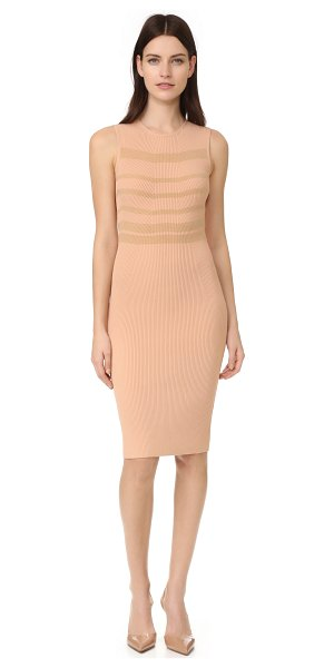 Narciso Rodriguez sleeveless dress in nude/camel - Rich cashmere stripes bring a touch of pure luxury to...