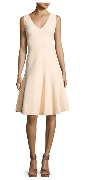 Narciso Rodriguez Sleeveless V-Neck Swing Dress in soft blush - Narciso Rodriguez birdseye-weave knit dress. Approx....