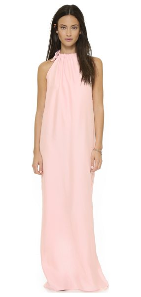 Natalie Deayala Gathered high neck gown in powder pink - This Natalie Deayala maxi dress has a high slit for a...