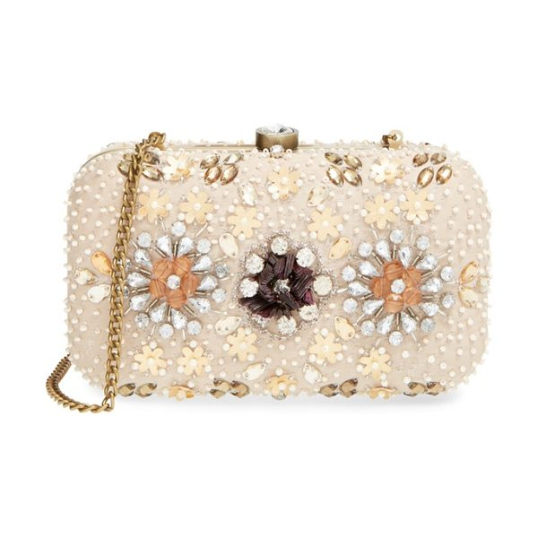 Natasha Couture Bead & crystal floral clutch in beige multi - Crystals and pearlescent beads enhance the...