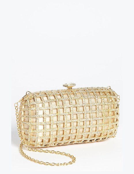 NATASHA COUTURE caged clutch in gold - Crystals encrust the satin-backed cage of a regal clutch...