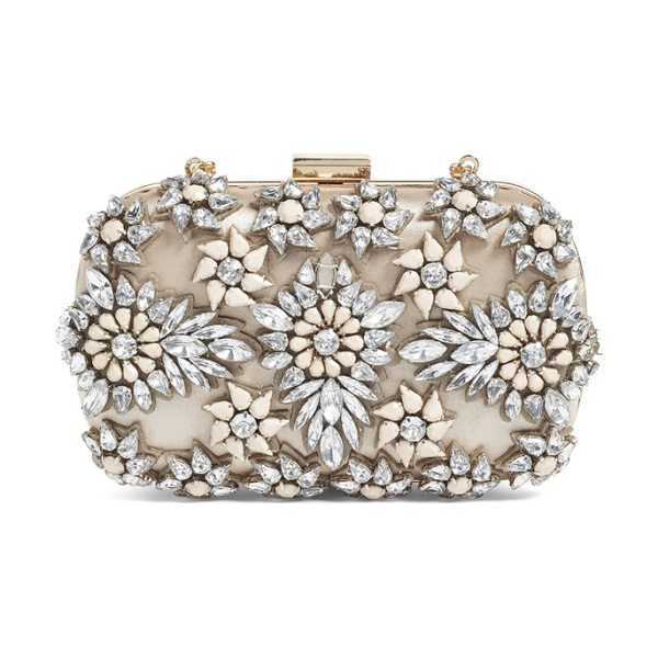 Natasha Couture crystal floral box clutch in beige multi - Stone-and-crystal flowers glint and shine on a box...