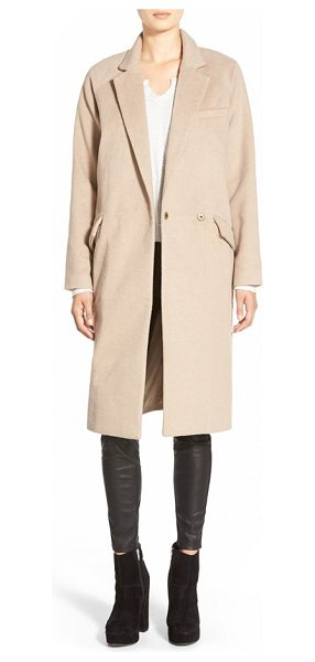 Native Youth single button peacoat in camel - Angular notch lapels accentuate the streamlined...